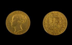 Queen Victoria 22ct Gold Young Head/Shield Back Full Sovereign - date 1843.