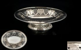 Victorian Period Fine Open Worked Oval Shaped Pedestal Fruit Bowl In Sterling Silver of pleasing