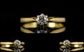 18ct Gold And Platinum Set Single Stone Diamond Set Dress Ring The Round Brilliant Cut Diamond of