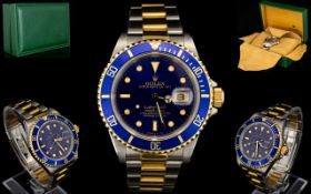 Rolex Submariner 18ct Gold And Stainless Steel Wrist Watch Model Number 16613,