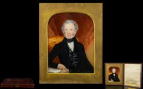 Mid 19th Century Portrait Miniature Painting of George Woolley - an English gentleman by Miss Mary