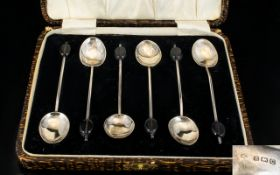 Boxed Set of Six Sterling Silver Coffee Spoons. Hallmark Birmingham 1927. Please See Photo.