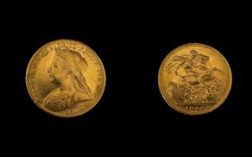 Queen Victoria - Superb 22ct Gold - Young Head Full Sovereign - Date 1900.