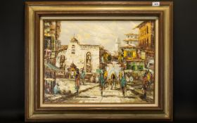 Original Impasto Oil On Canvas Depicting impressionistic figures in Mexican street scene.