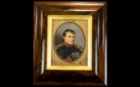 Napoleon Bonaparte Interest 19th Century Portrait Watercolour On Paper Unsigned head and shoulder