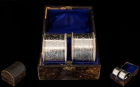 Scottish Pair of Boxed Sterling Silver Napkin Holders From The Victorian Period.