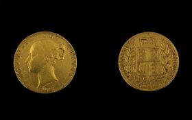 Victorian 1847 Shield Back Gold Sovereign Please see photo for grading