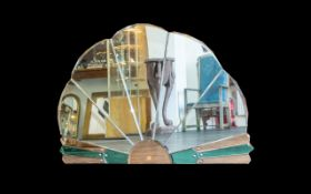 Art Deco Style Bevelled Glass Mirror Fan Form Mirror Comprising Five Panels Of Smoked Glass,