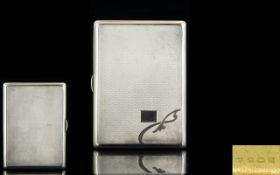 Art Deco Period - Bright Cut Gentleman's Solid Silver Hinged Rectangular Shaped Cigarette Case with