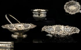 A Small Collection Of Antique Period Nice Quality Sterling Silver Items 3 pieces in total.