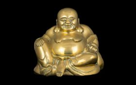 Antique Bronze Cast Laughing Buddha Typical Form. Height 7½ Inches. Please See Accompanying Image.
