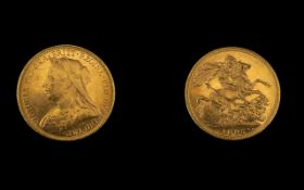 Queen Victoria - Superb 22ct Gold - Old Head Full Sovereign - Date 1895,