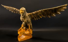 Vintage 1970's USSR Carved Eagle - wooden eagle on rock form stand, wingspan approx 27 inches,