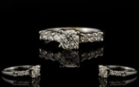 18ct White Gold Very Attractive and Pleasing Diamond Set - Ladies Dress Ring.