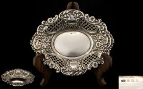 Superb Quality and Ornate Solid Silver Bon Bon Dish with Extensive Open work Trellis and Flower