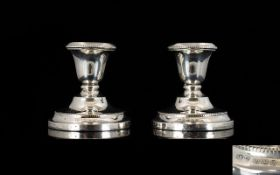 1920's Pair of Sterling Silver Squat Candlesticks of Pleasing Form. Hallmark Birmingham 1924. 186.