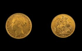 Queen Victoria Superb - 22ct Gold Young Head Full Sovereign - Date 1885.