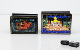 Two Mid - Late 20th Century Russian Lacquered Boxes Each signed in cyrilic script,