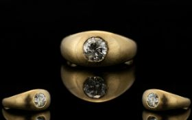 18ct Gold Single Stone Diamond Ring, Marked 18ct.