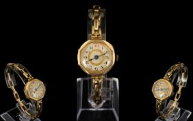 1930's Attractive Ladies Mechanical Wind 9ct Gold Octagonal Shaped Wrist Watch,