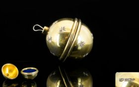 Mappin & Webb Silver Christmas Bauble Ring Box Spherical form box with etched star detail to outer,