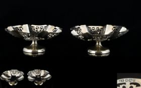 1930's Pair of Silver Pedestal Dishes of Small Proportions with Shaped and Pierced Sides,