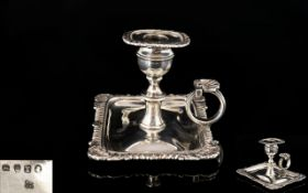 George III - Rebecca Emes and Edward Barnard Silver Chamber Candlestick of Small Proportions.