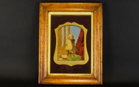 A 19th Century Box Framed Photographic Portrait Possibly a memento mori depicting a young girl with
