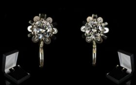18ct White Gold - Superb Pair of Round Brilliant Cut Diamond Set Earrings,