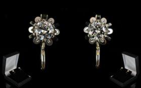 18ct White Gold - Superb Pair of Round Brilliant Cut Diamond Set Earrings,