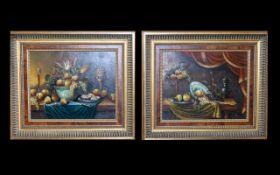 Spanish Oil Paintings By L. Blanco Two in total housed in ornate neoclassical style gilt frames.