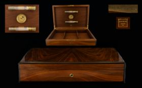Mahogany Humidor Comprising hinged top with three internal compartments and brass mounts,