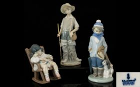 Lladro Porcelain Figures (3) in total. Comprises 1.Young Fisherman - gone fishing model no 4809.