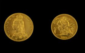 Queen Victoria 22ct Gold Jubilee Head Two Pound Coin - date 1887. London mint, high grade coin, E.