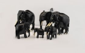 A Collection Of Carved Ebonised Wood Elephant Figures Indian elephant figures,