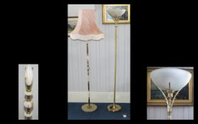Modernist Gilt Standard Lamp With frosted glass shade. Together with gilt onyx standard lamp