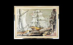 Maritime Interest David Iredale Original Mixed Media On Board 'Old London Docks 1871' Framed with