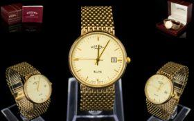 Rotary - Elite Handsome Gentleman's 9ct Gold Circular Dial - Integral Mesh Bracelet Wrist Watch of