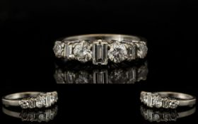 18ct White Gold Diamond Ring Half Eternity Ring Set With Alternating Round Brilliant And Baguette