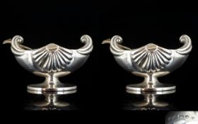 Victorian Period Pair Of Attractive Sterling Silver Salts with matching silver spoons nautilus