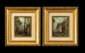 Pair Of Continental Street Scene Paintings Looks To Be Oil On Copper.