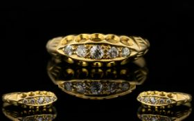 Antique Period Attractive And Pleasing 18ct Gold 5 Stone Diamond Dress Ring Gallery setting,