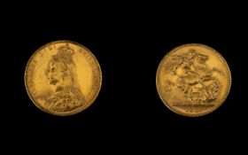 Queen Victoria Superb - 22ct Gold Jubilee Head Full Sovereign - Date 1887.