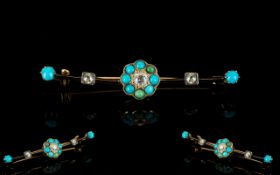 Victorian Period Attractive 9ct Gold Diamond and Turquoise Set Brooch,