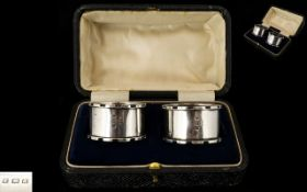 1920's Boxed Pair of Silver Napkin Holders with Turret Design Edges, Both In Excellent Condition.