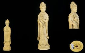 Japanese Fine Quality Signed Carved Ivory Figurine ( Okimono ) of a Female Deity,