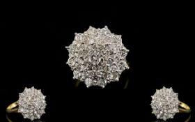Ladies - Attractive 18ct Gold Diamond Set Cluster Ring, Flower head Design.