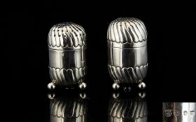 Victorian Period - Goldsmiths and Silversmiths Pair of Pleasing Designed Nutmeg Shaped Silver