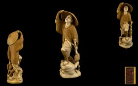 Japanese Tokyo School and Signed Superb Quality and Intricate Ivory Carving of a Japanese Male