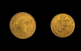 Queen Victoria 22ct Gold Young Head / Shield Back Half Sovereign - Date 1884.